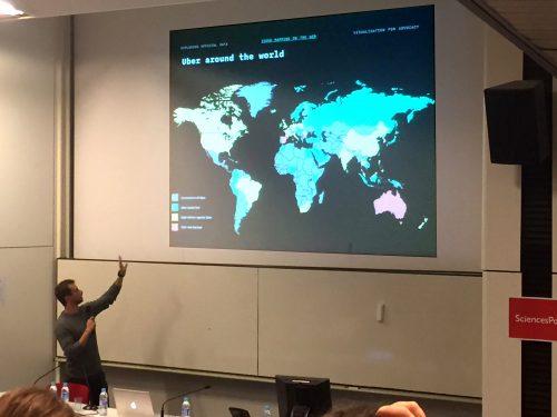 Deux étudiants en design de Politecnico di Milano présentent ensuite leur travail sur l'économie collaborative. Ils insistent particulièrement sur les enjeux soulevés à travers le monde par des acteurs tels que Uber et Airbnb.